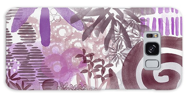 Plum And Grey Garden- Abstract Flower Painting Galaxy Case