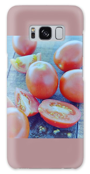 Plum Tomatoes On A Wooden Board Galaxy Case