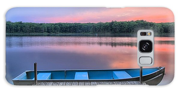 Poconos Lake Whitney Sunset Rowboat Galaxy Case