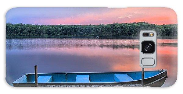 Poconos Lake Whitney Sunset Rowboat Galaxy Case