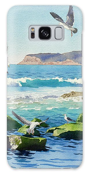Seagull Galaxy Case - Point Loma Rocks Waves And Seagulls by Mary Helmreich