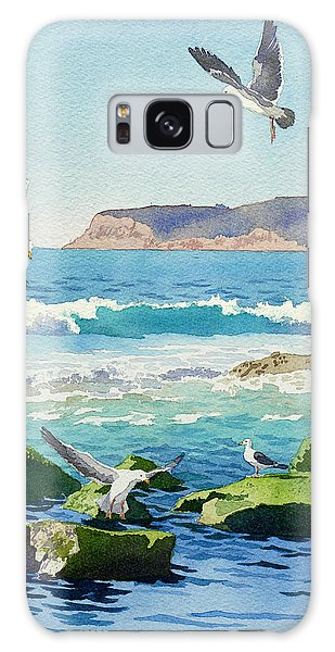 Point Loma Rocks Waves And Seagulls Galaxy Case