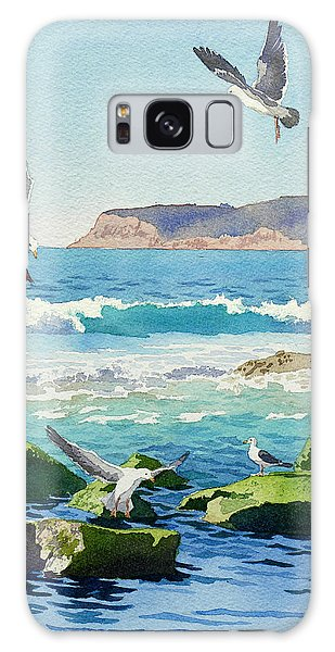 Waves Galaxy Case - Point Loma Rocks Waves And Seagulls by Mary Helmreich