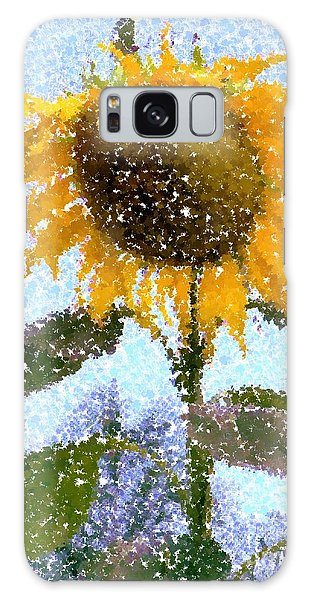 Pointillist Sunflower In Sun City Galaxy Case by Barbie Corbett-Newmin