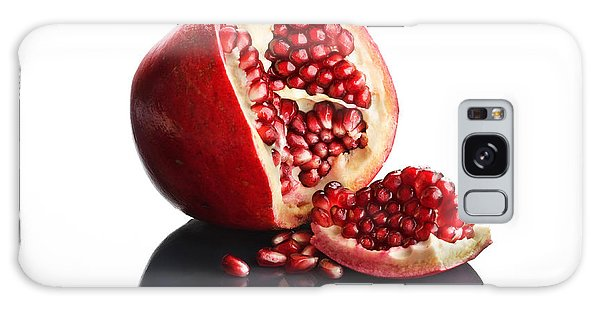 Indoors Galaxy Case - Pomegranate Opened Up On Reflective Surface by Johan Swanepoel