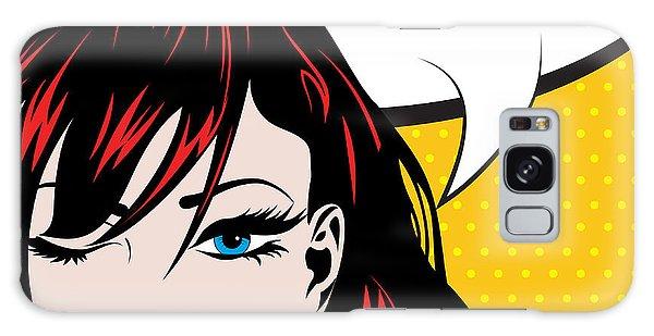 Hair Galaxy Case - Pop Art Woman Winks. Vector by Gal Amar