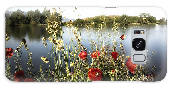 Poppies At Lake Galaxy Case