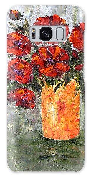 Poppies In Orange Vase Galaxy Case