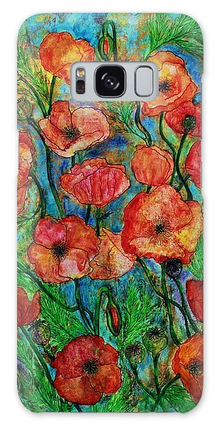 Poppies In Storm Galaxy Case