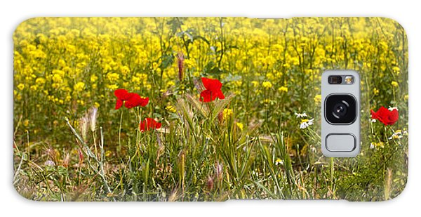 Poppies In Yellow Field Galaxy Case