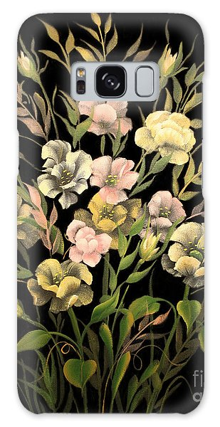 Poppies On Black Canvas Galaxy Case