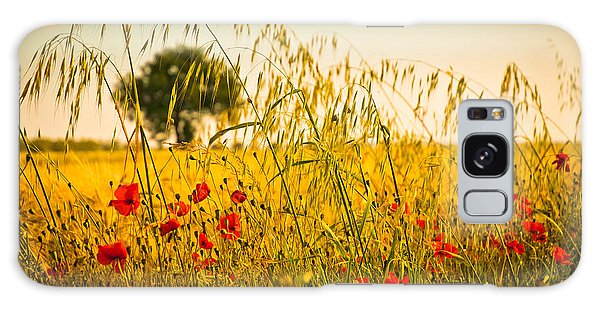 Poppies With Tree In The Distance Galaxy Case