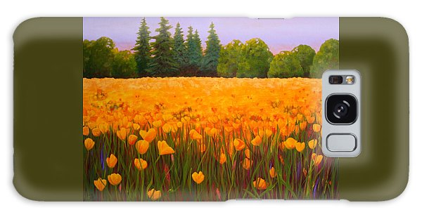 Poppy Fields Forever Galaxy Case by Nancy Jolley