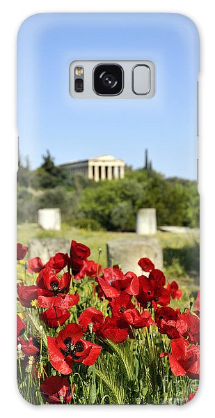 Poppy Flowers In Ancient Market Galaxy Case by George Atsametakis