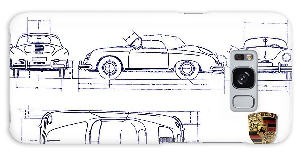 Blueprint Galaxy Case - Porsche 356a Blueprint  by Jon Neidert