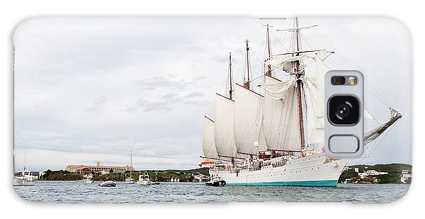 Juan Sebastian De Elcano Famous Tall Ship Of Spanish Navy Visits Port Mahon In Front Of Bloody Islan Galaxy Case