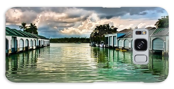 Storm Clouds Over  Port Royal Boathouses In Naples Galaxy Case