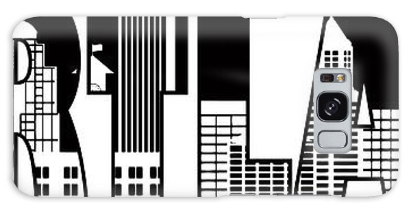 Portland City Skyline Text Outline Illustration Galaxy Case