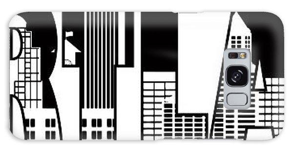 Portland City Skyline Text Outline Illustration Galaxy Case