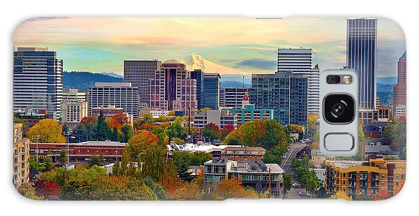 Portland Downtown Cityscape In The Fall Galaxy Case