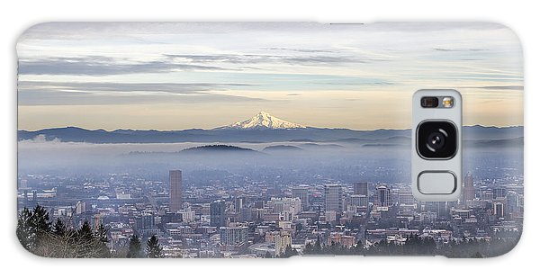 Portland Downtown Foggy Cityscape Galaxy Case by JPLDesigns