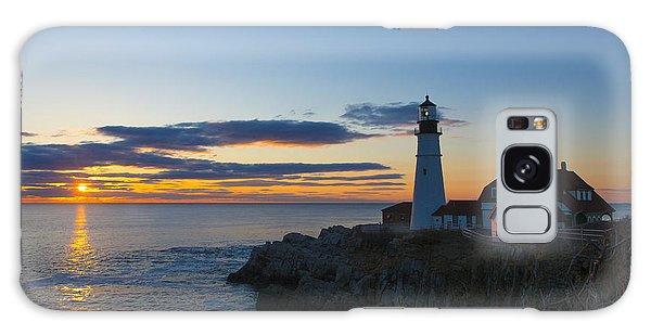 Lighthouse Galaxy Case - Portland Head Light At Sunrise by Diane Diederich