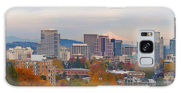 Portland Oregon City Skyline And Mount Hood Galaxy Case