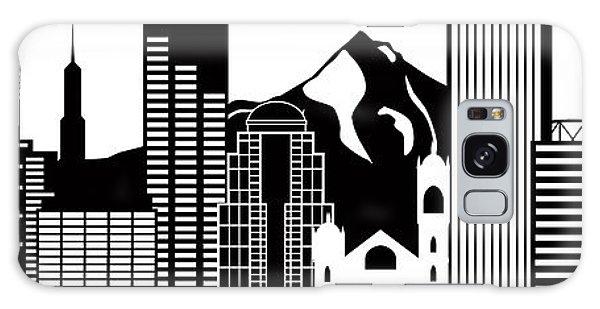 Portland Oregon Skyline Black And White Illustration Galaxy Case