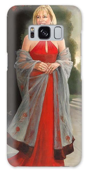 Portrait In Red Dress Galaxy Case