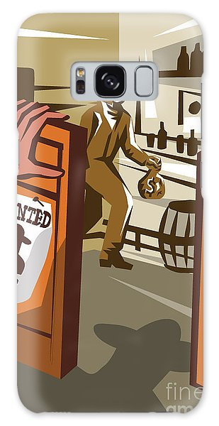 Door Galaxy Case - Poster Illustration Of An Outlaw Cowboy by Patrimonio Designs Ltd