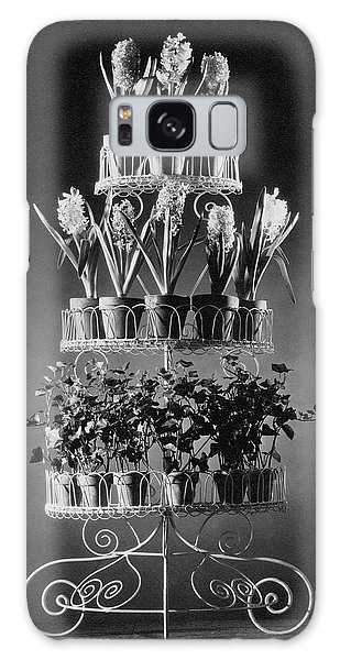 Potted Flowers On A Wrought Iron Stand Galaxy Case