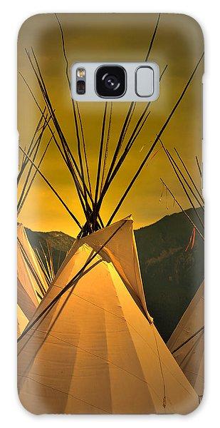 Pow Wow Camp At Sunrise Galaxy Case by Kae Cheatham