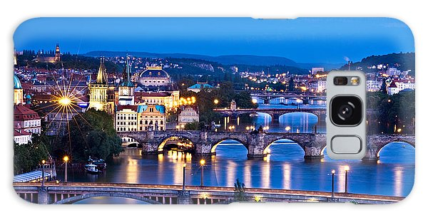 Galaxy Case featuring the photograph Prague Cityscape At Night by Barry O Carroll