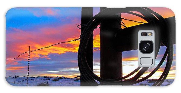 Prairie Fence Sunset Galaxy Case