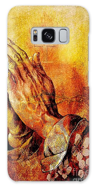 Praying Hands With Sacred Heart Galaxy Case