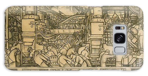 Mexican Galaxy Case - Presentation Drawing Of The Automotive Panel For The North Wall Of The Detroit Industry Mural by Diego Rivera