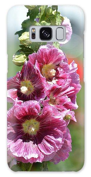 Pretty Hollyhock Flowers Galaxy Case by P S