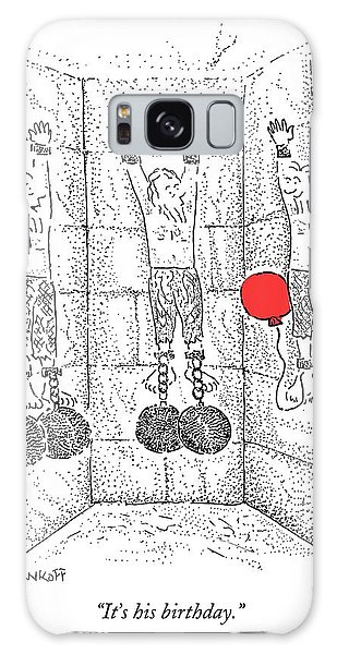 Dungeon Galaxy Case - Prisoner In Dungeon Has Orange Balloons Attached by Robert Mankoff