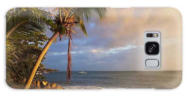 Puerto Rico Palm Lined Beach With Boat At Sunset Galaxy Case