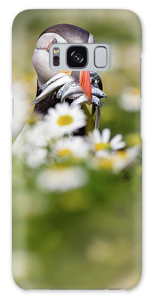 Puffin Galaxy S8 Case - Puffin & Daisies by Mario Su?rez