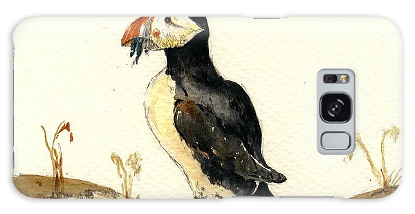 Atlantic Ocean Galaxy Case - Puffin With Fishes by Juan  Bosco