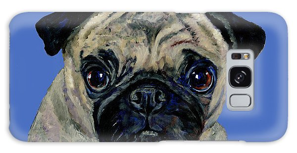 Pug On Blue Galaxy Case