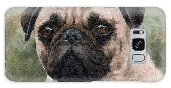 Pug Portrait Painting Galaxy Case by Rachel Stribbling
