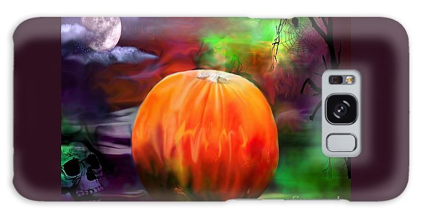 Pumpkin Skull Spider And Moon Halloween Art Galaxy Case