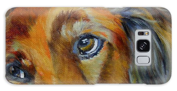 Puppy Dog Eyes Galaxy Case by Chris Brandley