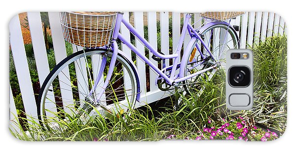 Bicycle Galaxy Case - Purple Bicycle And Flowers by David Smith