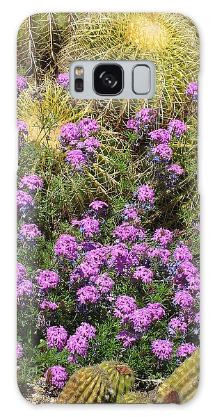 Purple Flowers And Barrel Cacti Galaxy Case by Mark Barclay