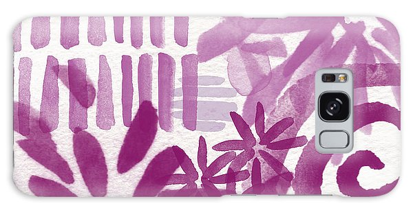 Purple Garden - Contemporary Abstract Watercolor Painting Galaxy Case by Linda Woods