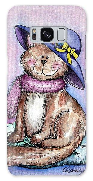 Purple Hat Cat Galaxy Case