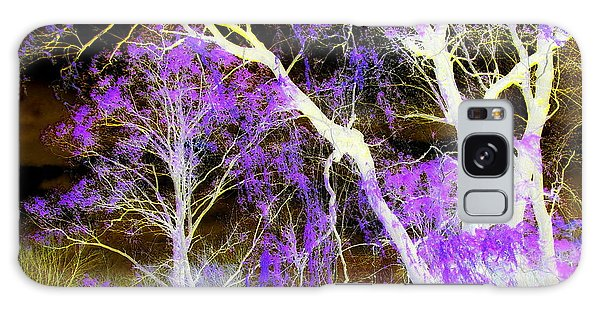 Purple Leaves And White Trees Galaxy Case